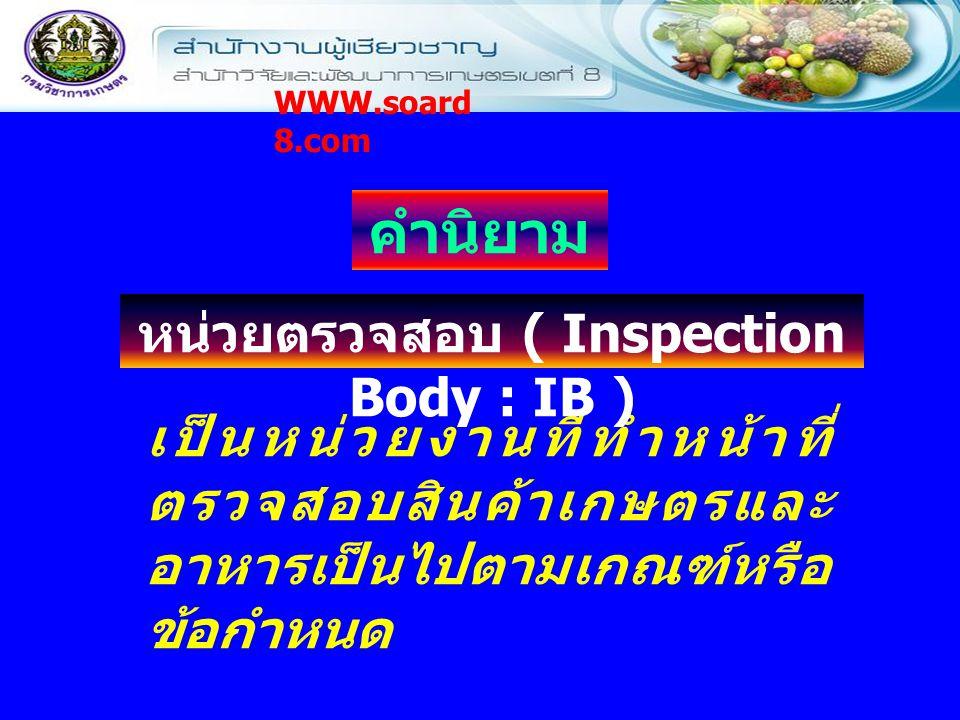 หน่วยตรวจสอบ ( Inspection Body : IB )