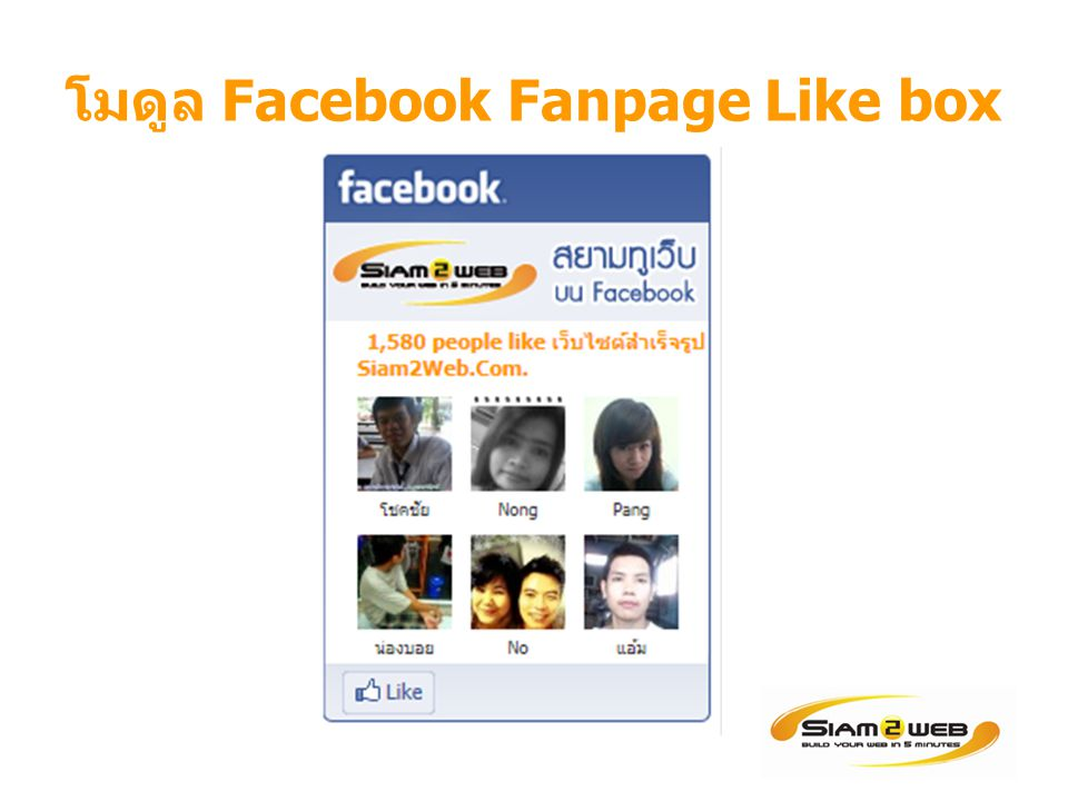 โมดูล Facebook Fanpage Like box