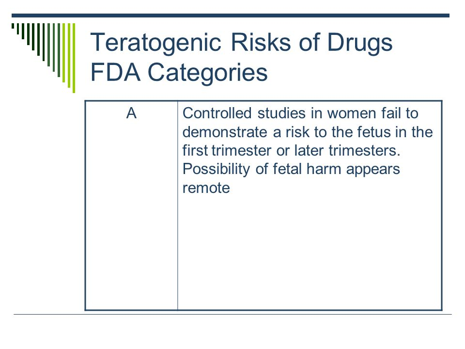 Teratogenic Risks of Drugs FDA Categories