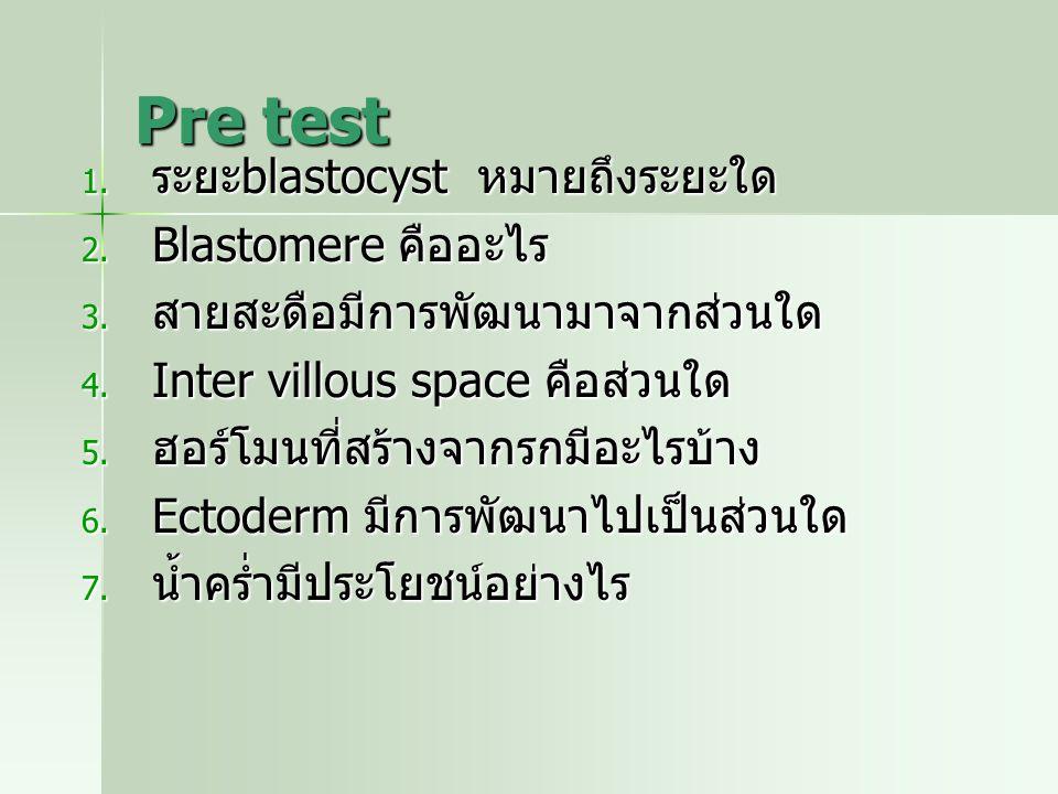 Pre test ระยะblastocyst หมายถึงระยะใด Blastomere คืออะไร