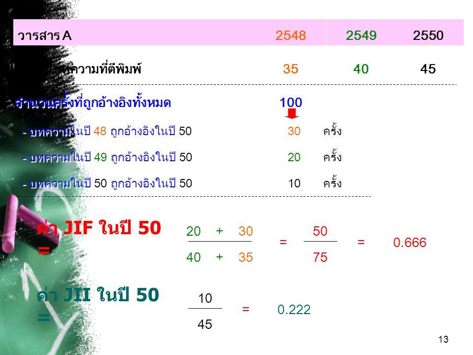 ค่า JIF ในปี 50 = ค่า JII ในปี 50 = วารสาร A 2548 2549 2550