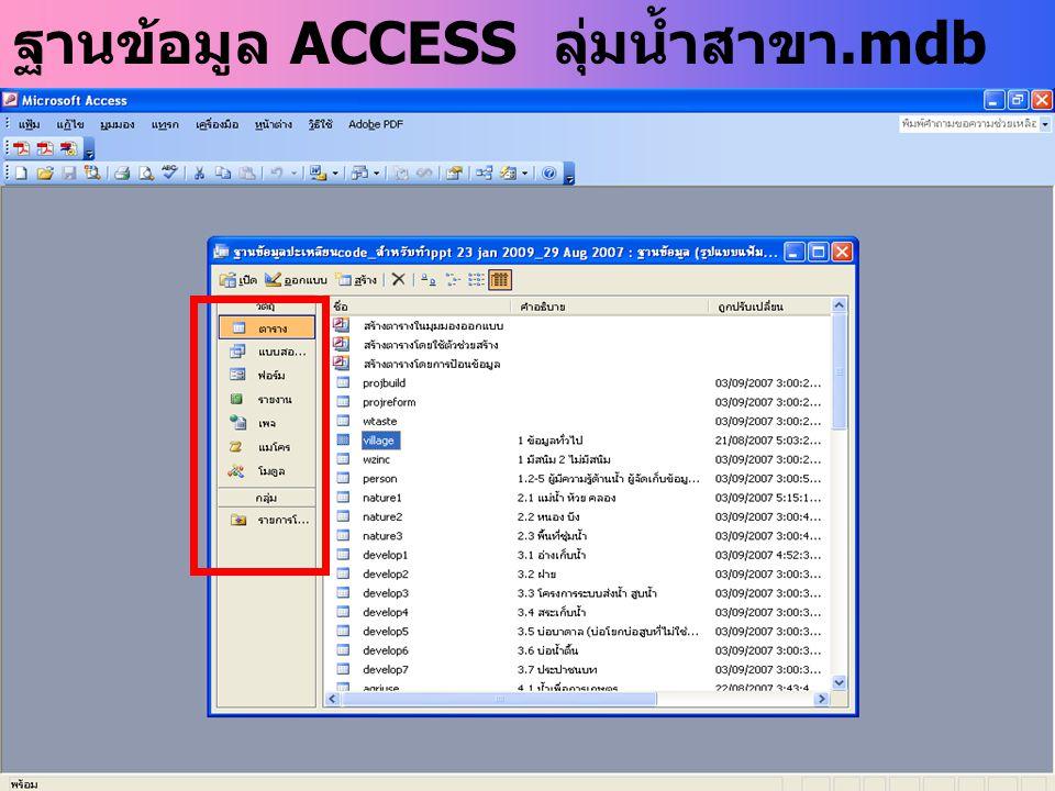 ฐานข้อมูล ACCESS ลุ่มน้ำสาขา.mdb