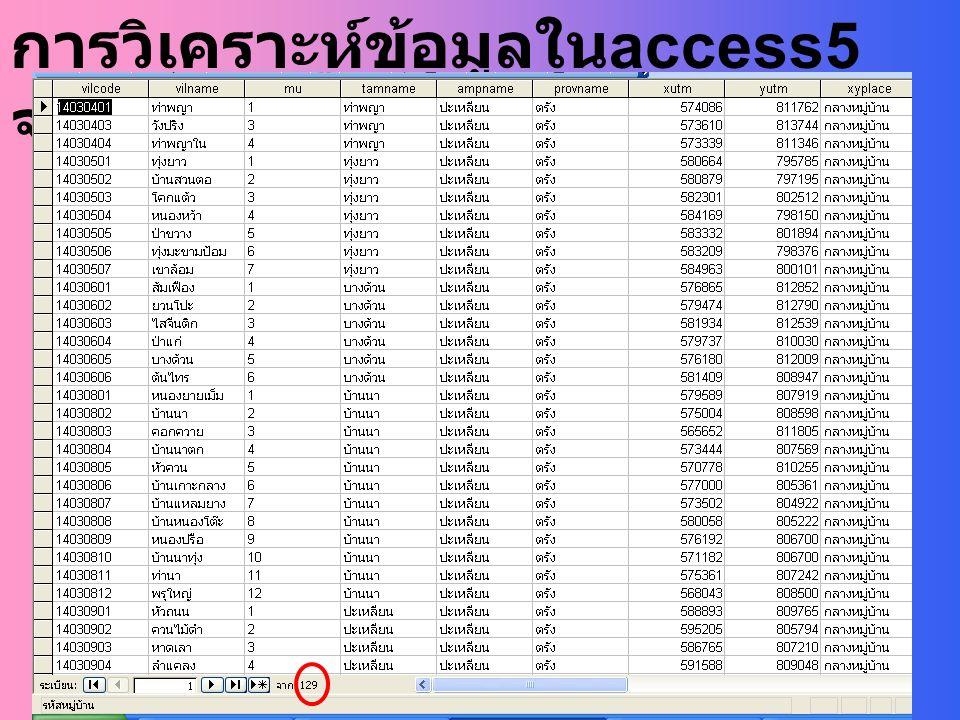 การวิเคราะห์ข้อมูลในaccess5จำนวนหมู่บ้าน