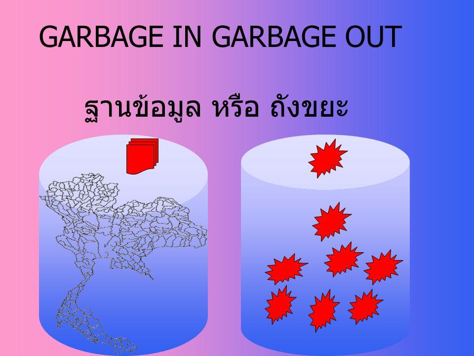 GARBAGE IN GARBAGE OUT ฐานข้อมูล หรือ ถังขยะ