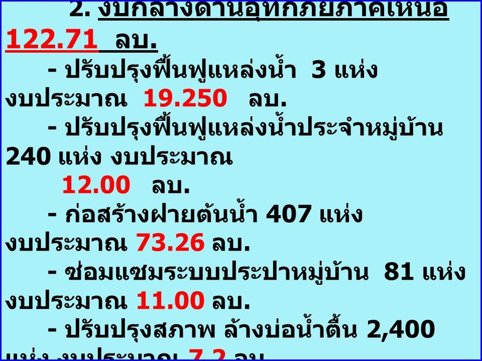 2. งบกลางด้านอุทกภัยภาคเหนือ 122. 71 ลบ
