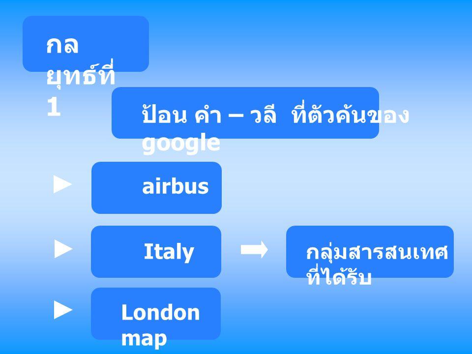 กลยุทธ์ที่ 1 ป้อน คำ – วลี ที่ตัวค้นของ google airbus Italy