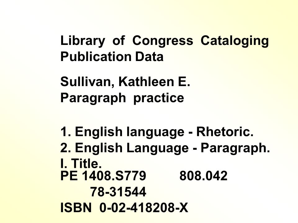 Library of Congress Cataloging Publication Data