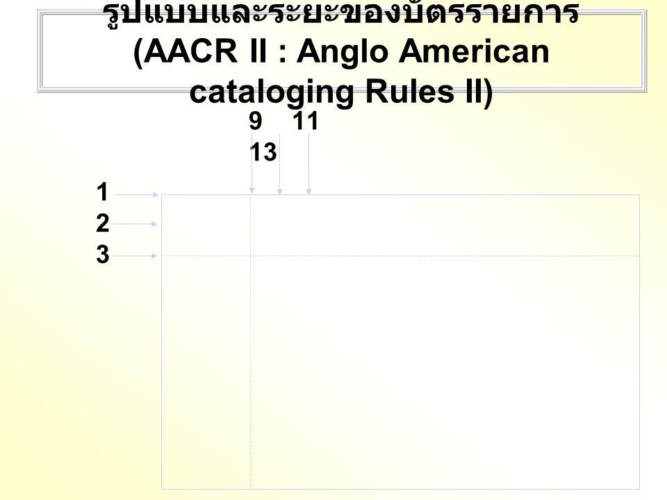 รูปแบบและระยะของบัตรรายการ (AACR II : Anglo American cataloging Rules II)