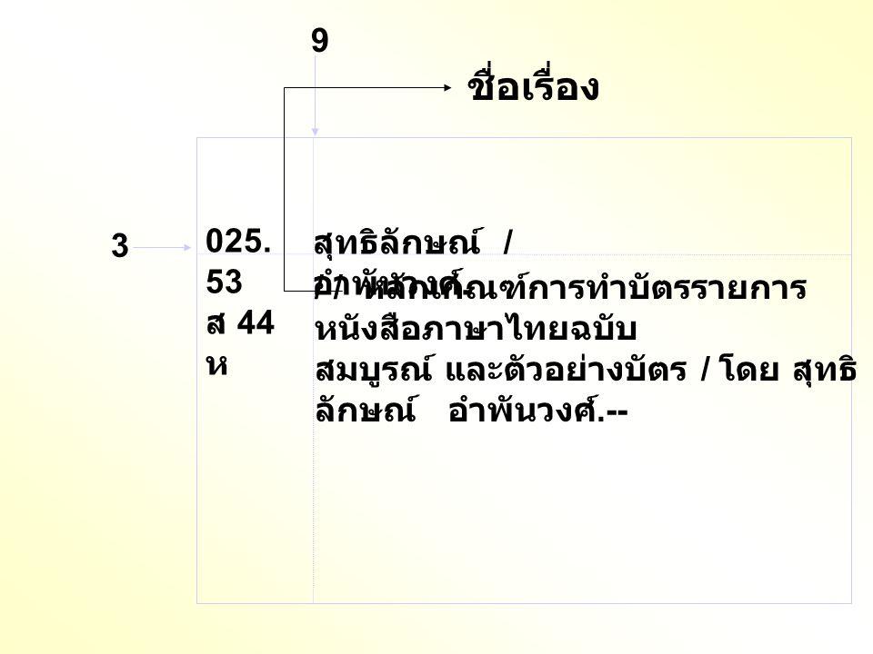 ชื่อเรื่อง 9 3 025.53 ส 44 ห สุทธิลักษณ์ / อำพันวงศ์.