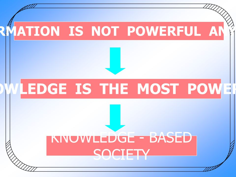 INFORMATION IS NOT POWERFUL ANYMORE KNOWLEDGE IS THE MOST POWERFUL