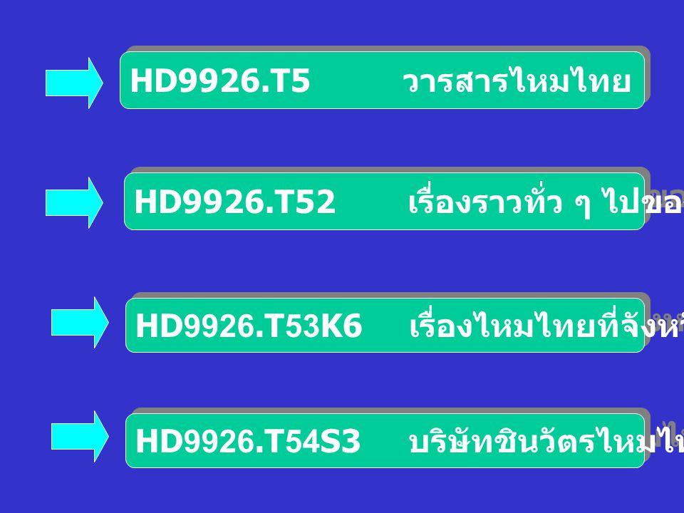 HD9926.T5 วารสารไหมไทย HD9926.T52 เรื่องราวทั่ว ๆ ไปของไหมไทย. HD9926.T53K6 เรื่องไหมไทยที่จังหวัดขอนแก่น.