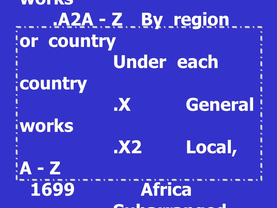 1689. A1A - Z. General works. A2A - Z. By region or country
