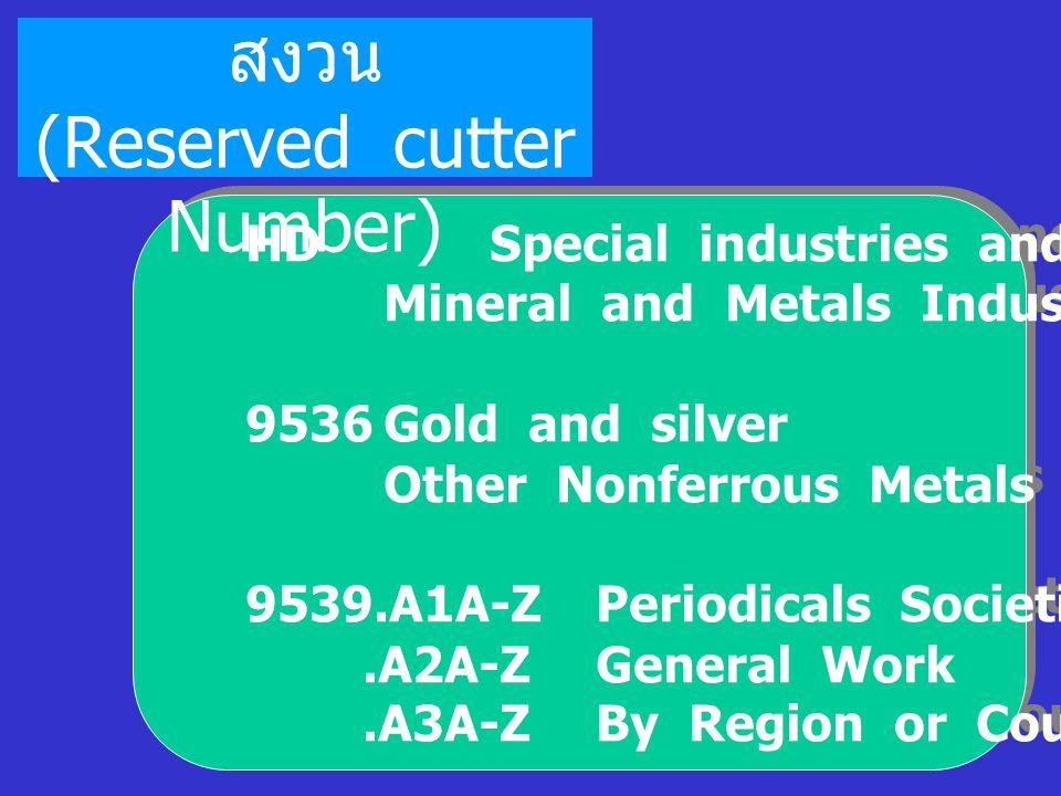 คัตเตอร์สำรอง หรือสงวน (Reserved cutter Number)