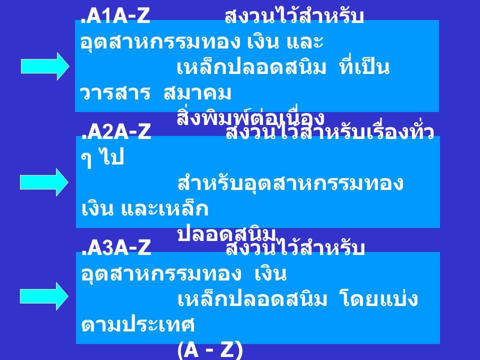A1A-Z. สงวนไว้สำหรับอุตสาหกรรมทอง เงิน และ