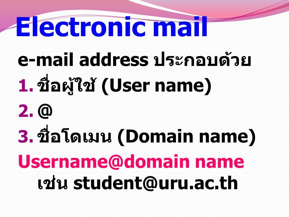 Electronic mail e-mail address ประกอบด้วย ชื่อผู้ใช้ (User name) @