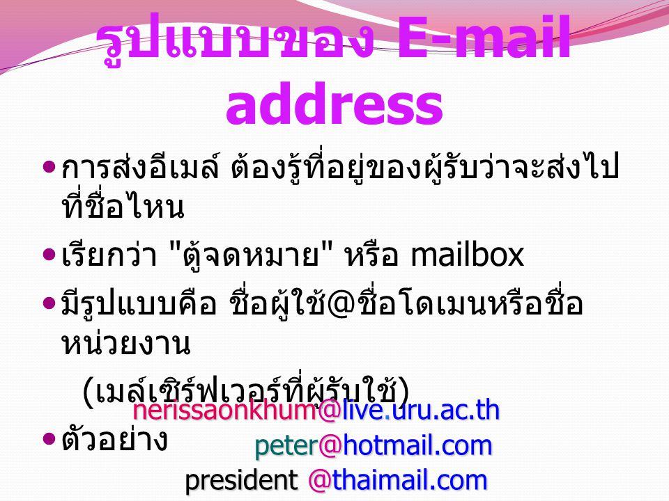 รูปแบบของ E-mail address