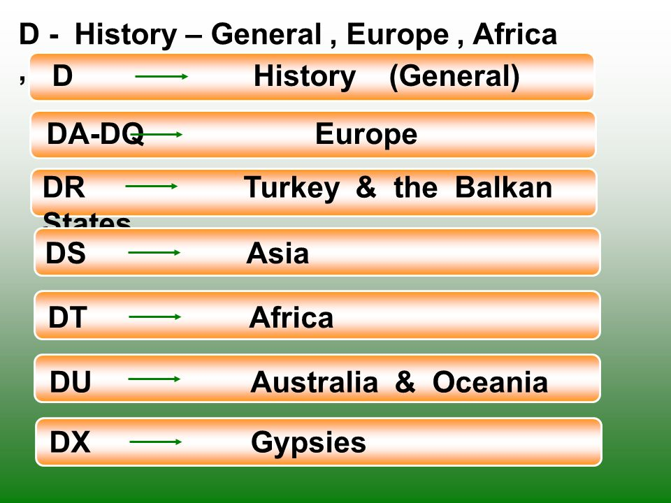 D - History – General , Europe , Africa , and Asia