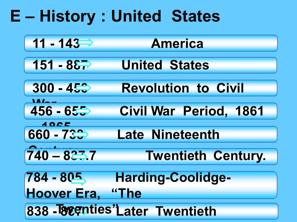 E – History : United States
