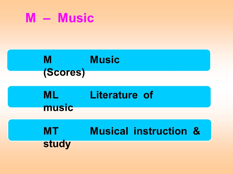 M – Music M Music (Scores) ML Literature of music