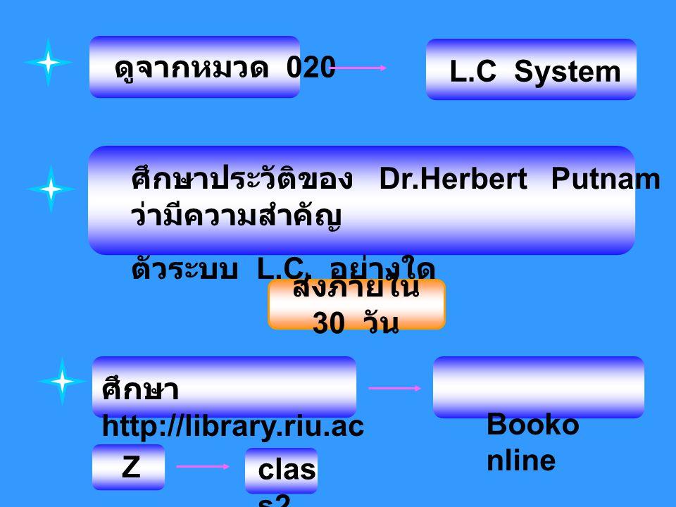 ดูจากหมวด 020 L.C System. ศึกษาประวัติของ Dr.Herbert Putnam ว่ามีความสำคัญ. ตัวระบบ L.C. อย่างใด.