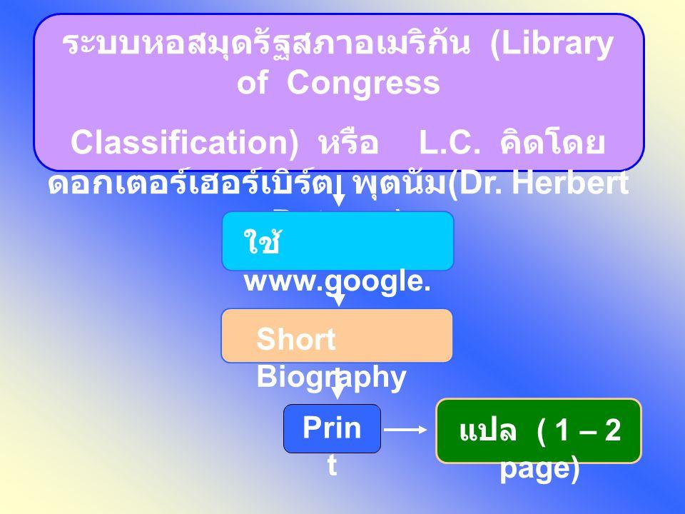 ระบบหอสมุดรัฐสภาอเมริกัน (Library of Congress
