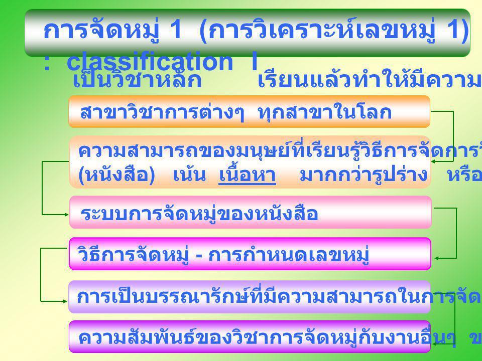 การจัดหมู่ 1 (การวิเคราะห์เลขหมู่ 1) : classification I