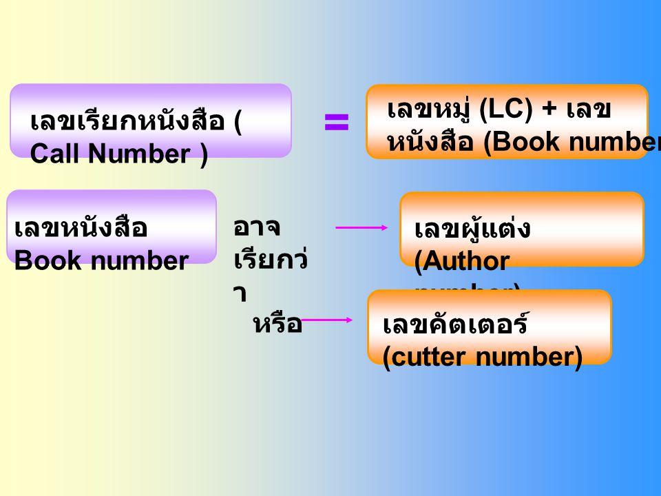 = เลขหมู่ (LC) + เลขหนังสือ (Book number
