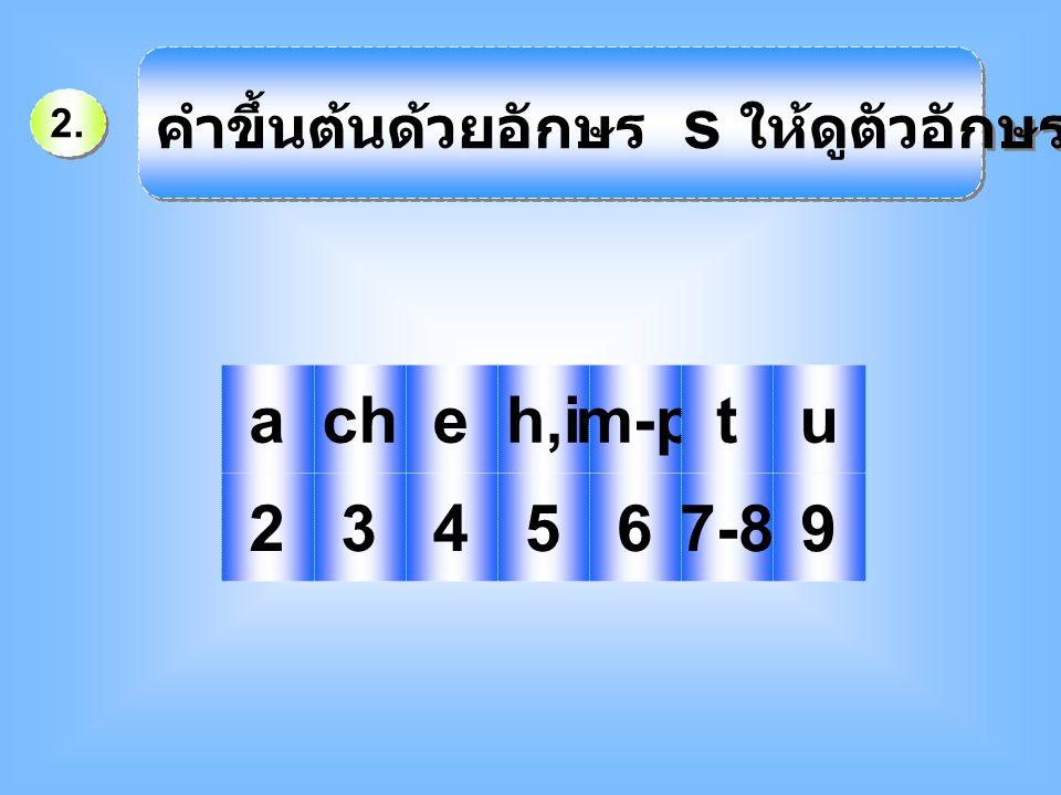 คำขึ้นต้นด้วยอักษร s ให้ดูตัวอักษรตัวที่ 2 คือ
