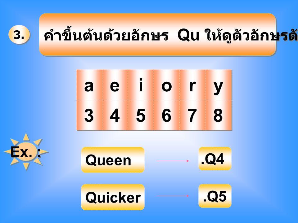 คำขึ้นต้นด้วยอักษร Qu ให้ดูตัวอักษรตัวที่ 3 คือ