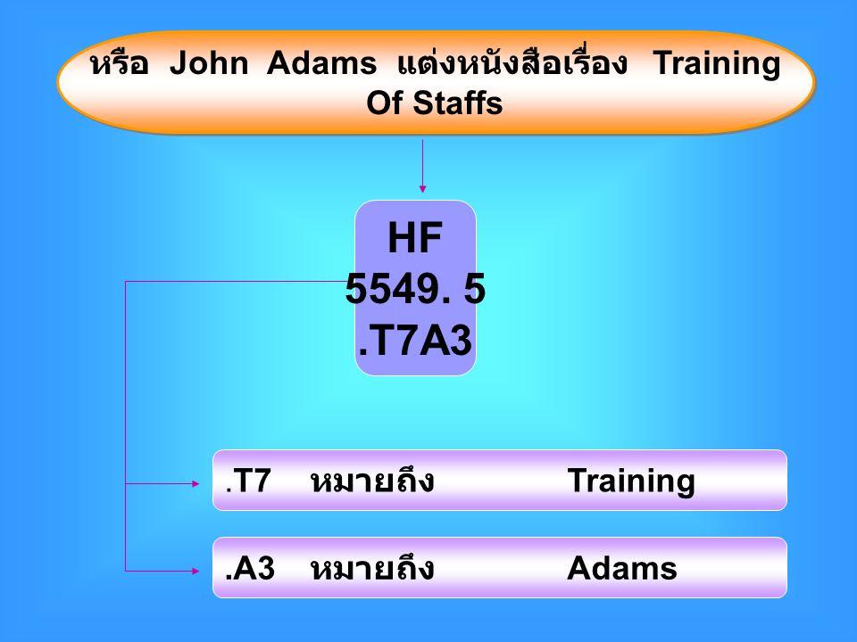 หรือ John Adams แต่งหนังสือเรื่อง Training