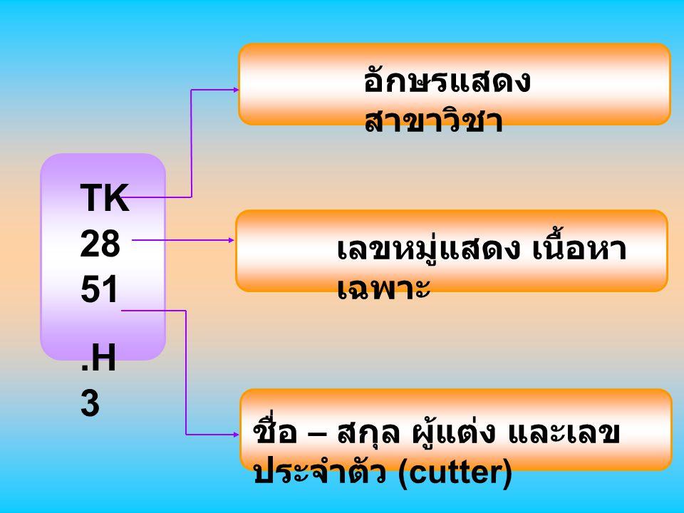 TK 2851 .H3 อักษรแสดงสาขาวิชา เลขหมู่แสดง เนื้อหาเฉพาะ