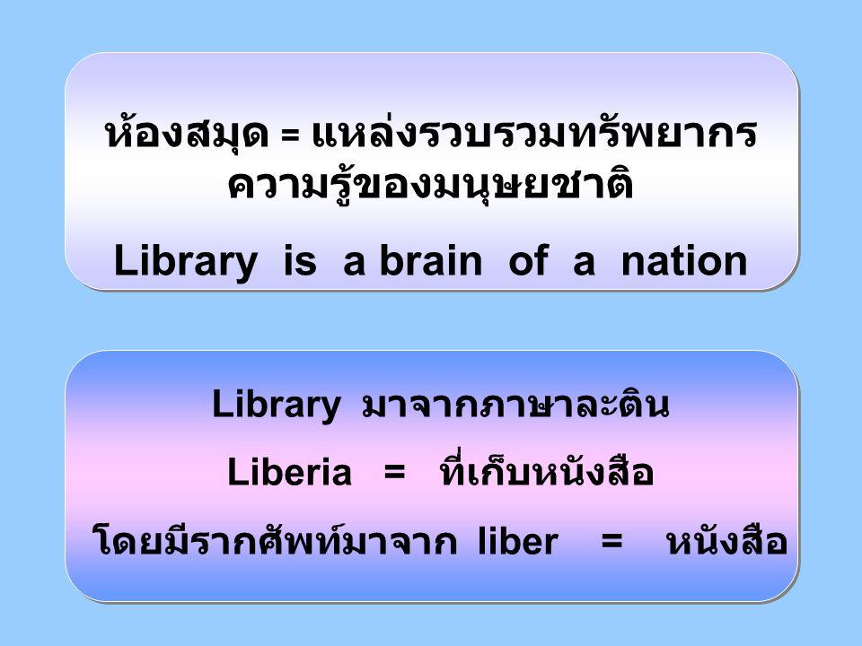 ห้องสมุด = แหล่งรวบรวมทรัพยากรความรู้ของมนุษยชาติ