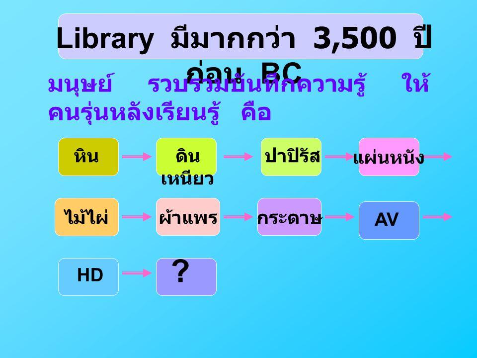 Library มีมากกว่า 3,500 ปีก่อน BC