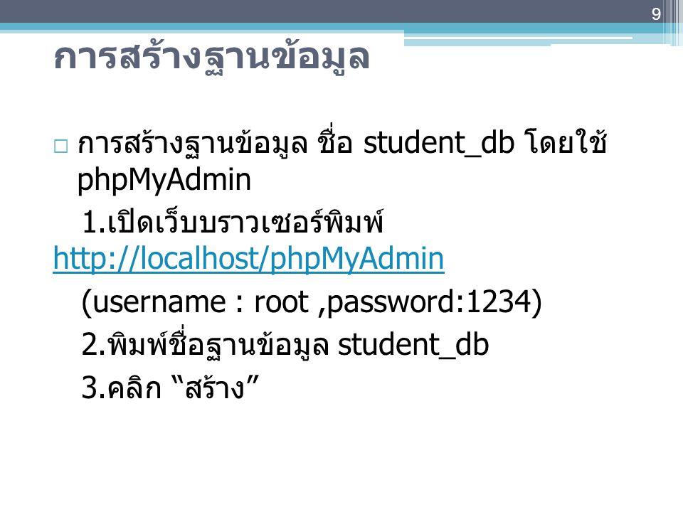 การสร้างฐานข้อมูล การสร้างฐานข้อมูล ชื่อ student_db โดยใช้ phpMyAdmin