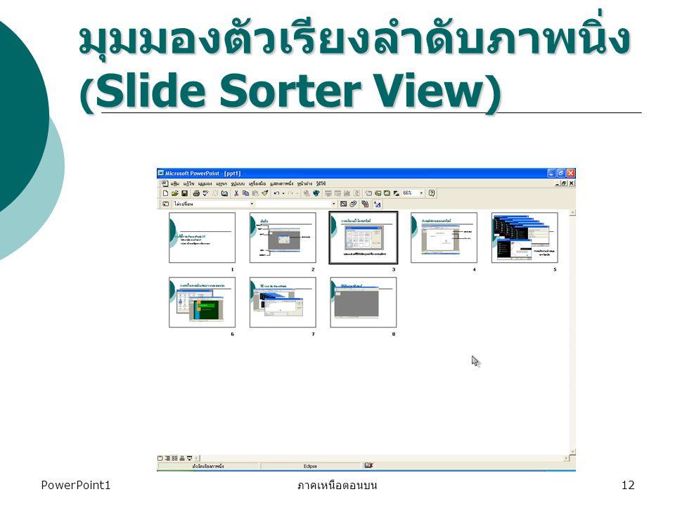 มุมมองตัวเรียงลำดับภาพนิ่ง (Slide Sorter View)