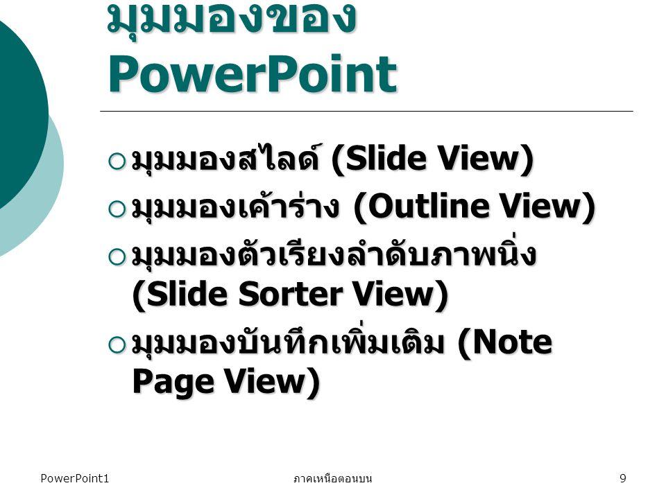 มุมมองของ PowerPoint มุมมองสไลด์ (Slide View)