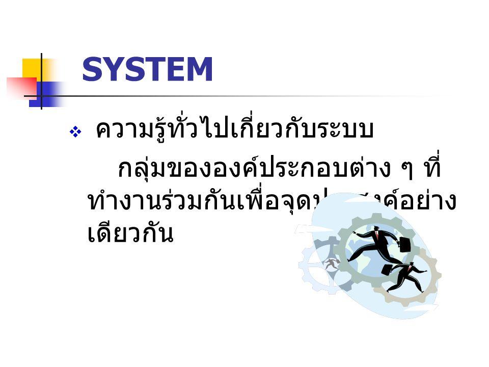 SYSTEM ความรู้ทั่วไปเกี่ยวกับระบบ