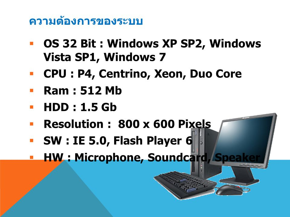 ความต้องการของระบบ OS 32 Bit : Windows XP SP2, Windows Vista SP1, Windows 7. CPU : P4, Centrino, Xeon, Duo Core.