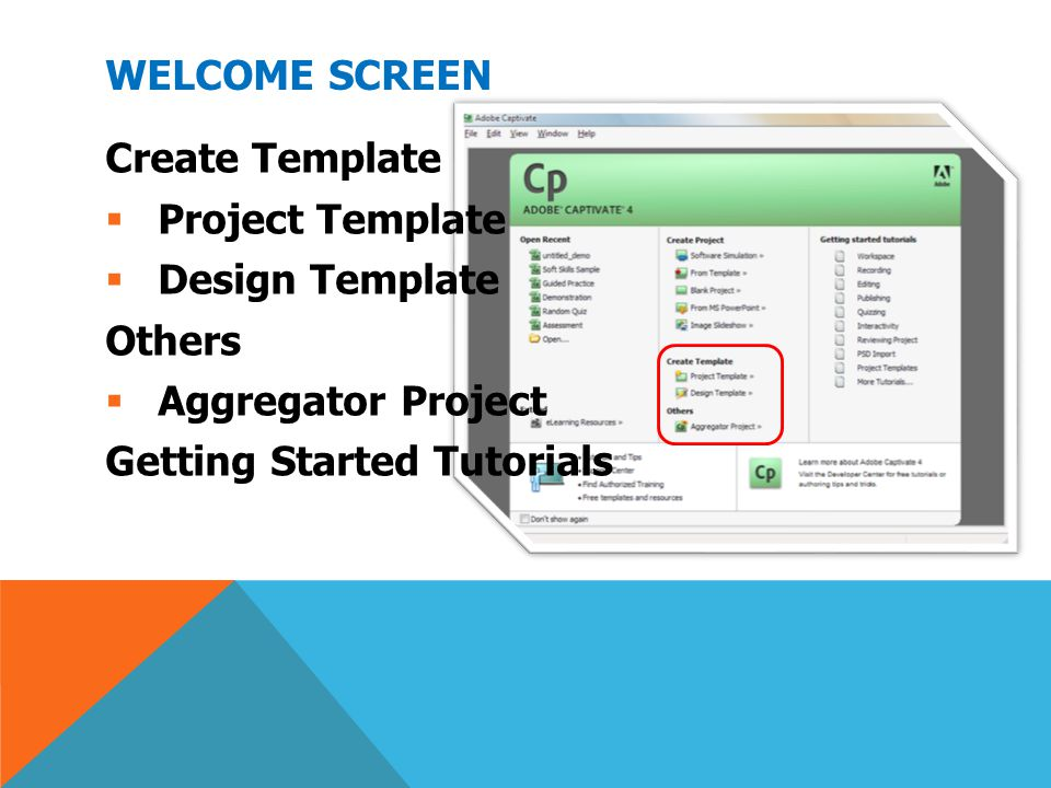 Welcome Screen Create Template. Project Template.