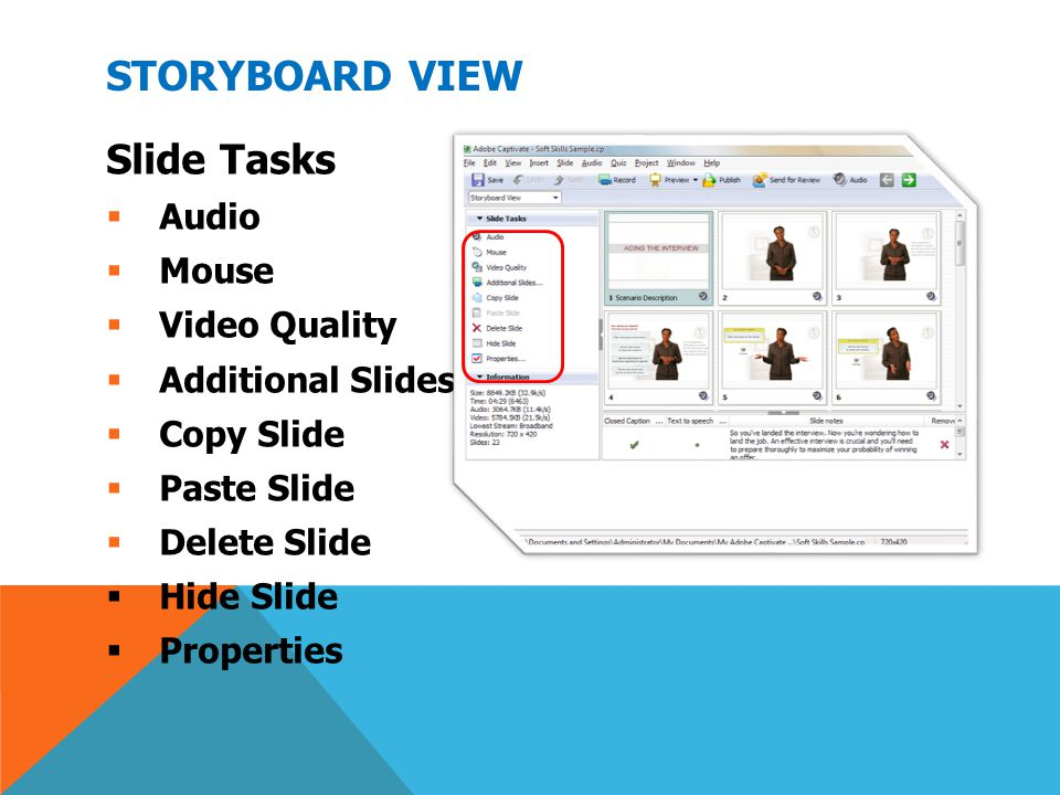 Storyboard View Slide Tasks Audio Mouse Video Quality
