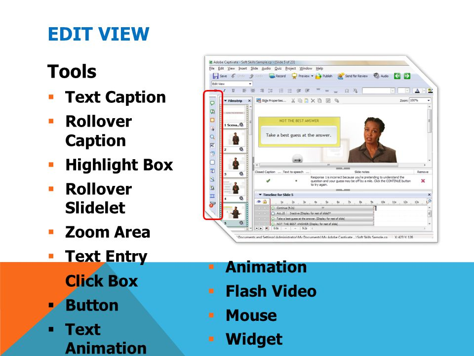 Edit View Tools Text Caption Rollover Caption Highlight Box