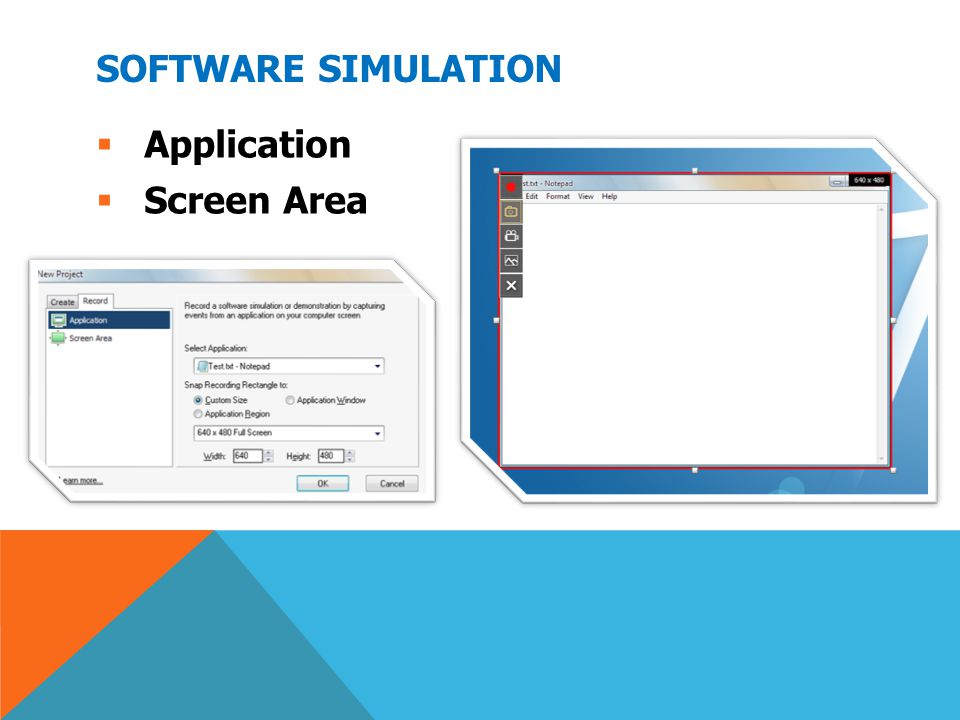 Software Simulation Application Screen Area