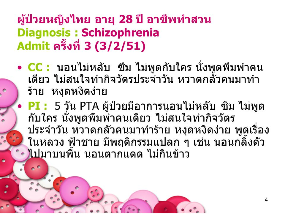 ผู้ป่วยหญิงไทย อายุ 28 ปี อาชีพทำสวน Diagnosis : Schizophrenia Admit ครั้งที่ 3 (3/2/51)