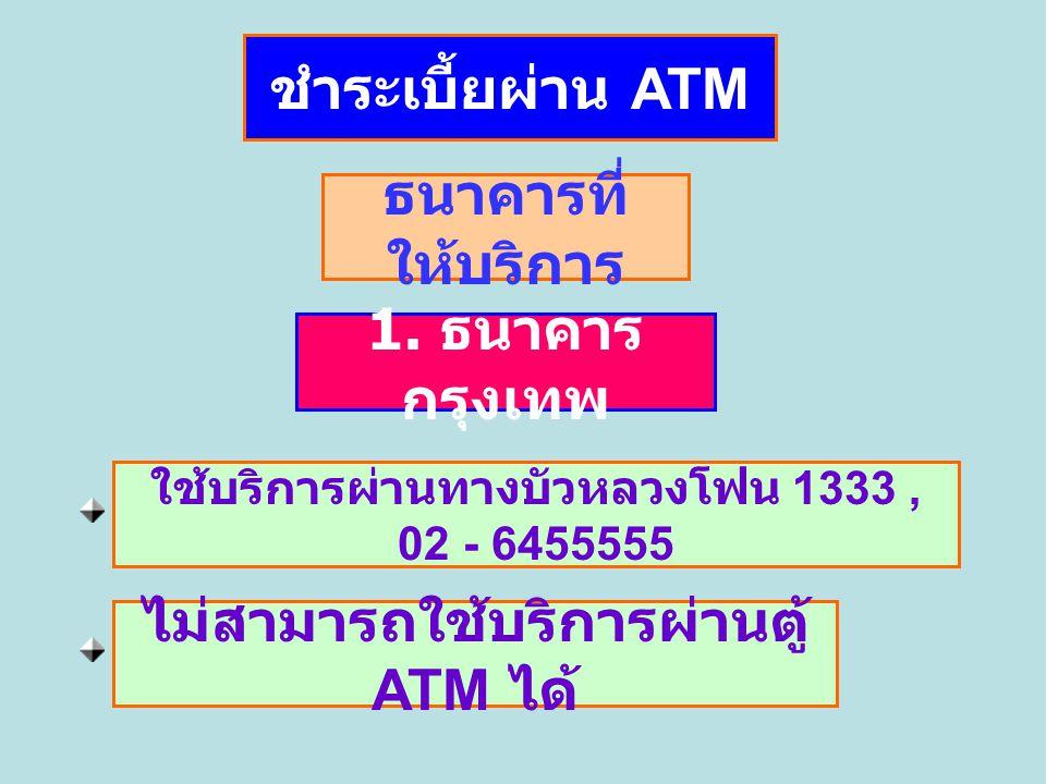 ไม่สามารถใช้บริการผ่านตู้ ATM ได้