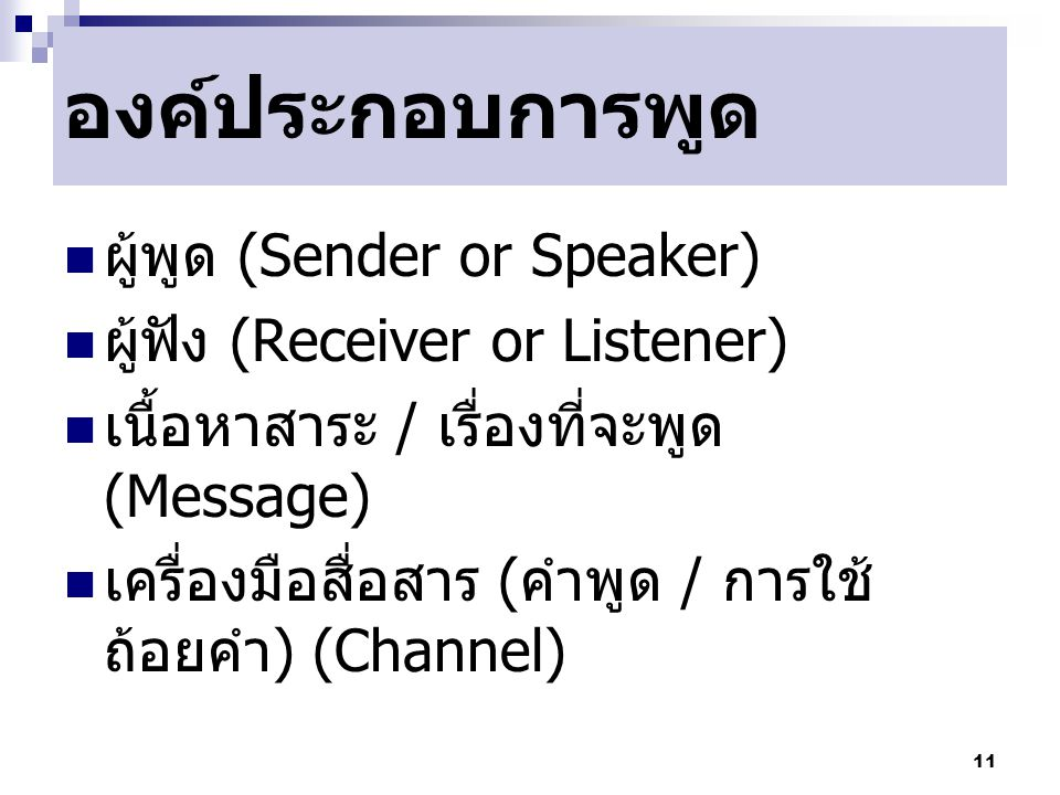 องค์ประกอบการพูด ผู้พูด (Sender or Speaker)