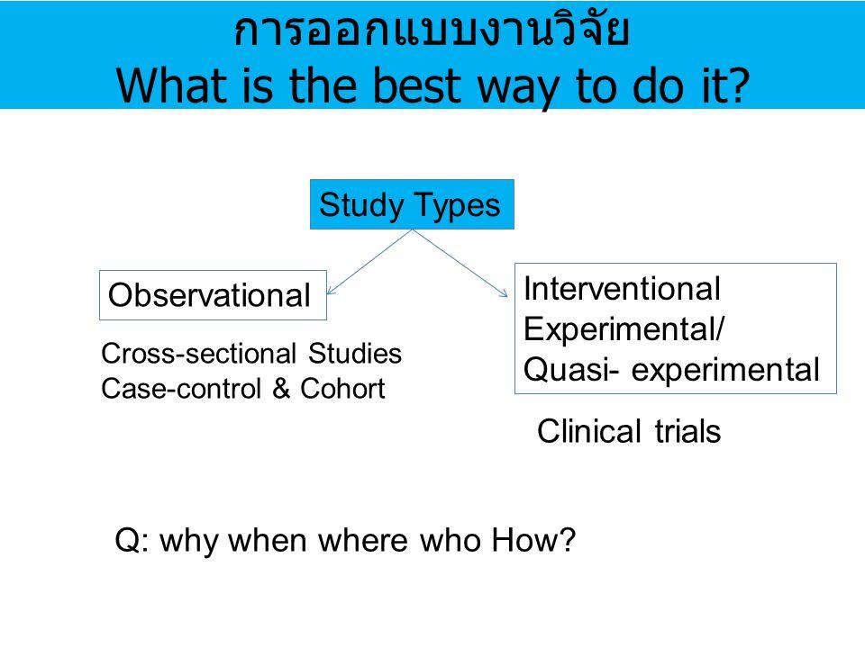 การออกแบบงานวิจัย What is the best way to do it