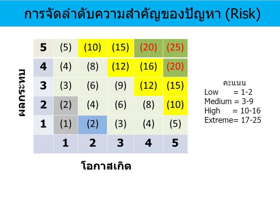 การจัดลำดับความสำคัญของปัญหา (Risk)