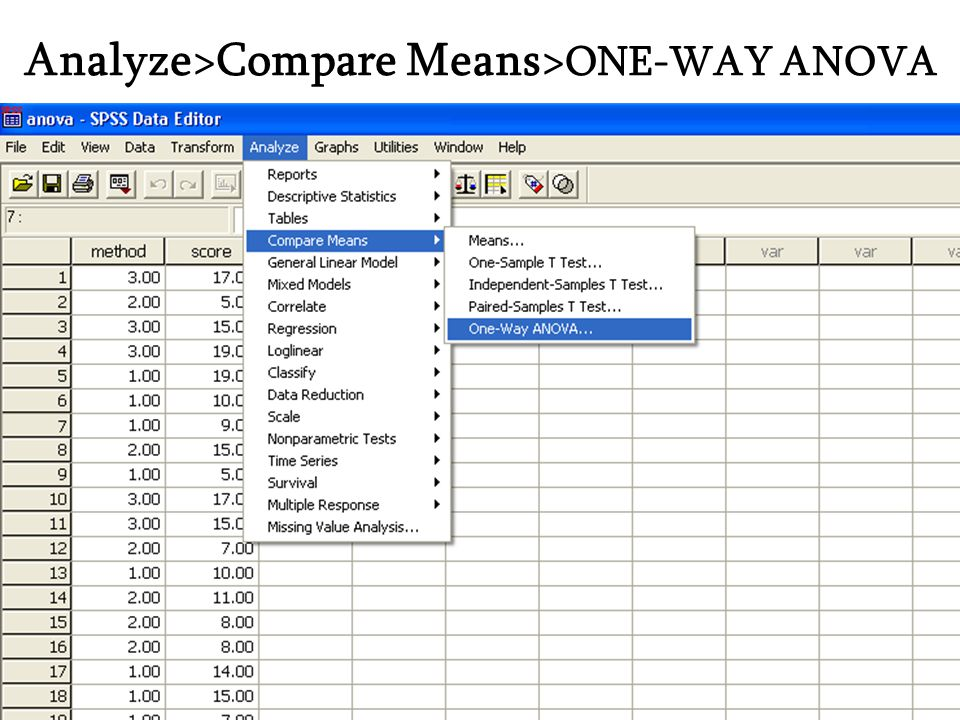 Analyze>Compare Means>ONE-WAY ANOVA