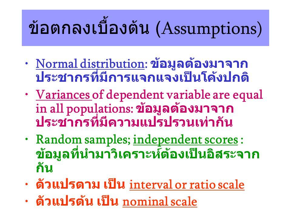 ข้อตกลงเบื้องต้น (Assumptions)