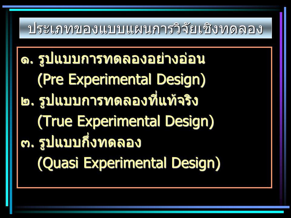 ประเภทของแบบแผนการวิจัยเชิงทดลอง